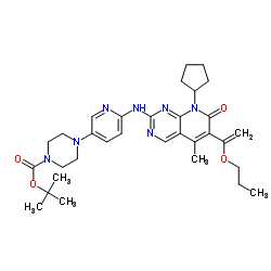 2-Methyl-2-propanyl 4-(6-{[8-cyclopentyl-5-methyl-7-oxo-6-(1-prop oxyvinyl)-7,8-dihydropyrido[2,3-d]pyrimidin-2-yl]amino}-3-pyridin yl)-1-piperazinecarboxylate